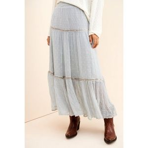 NWT Free People Ella Embellished Tiered Maxi Skirt